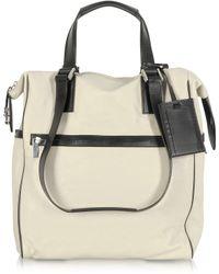 Giorgio Fedon - Metro Cream Leather Vertical Tote Bag - Lyst