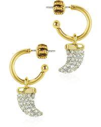 Juicy Couture - Pave Horn Mini Hoop Earrings - Lyst