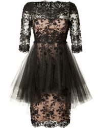 Marchesa Crystal Embroidered Silk Lace Dress In Black - Lyst