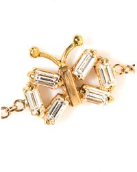 Matchstick - Diamond & Rose-Gold Butterfly Bracelet - Lyst
