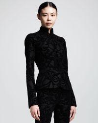 Alexander McQueen Flocked Flannel Mandarincollar Jacket - Lyst