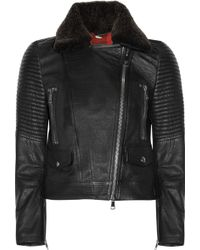 Burberry Brit - Shearling Trimmed Leather Biker Jacket - Lyst