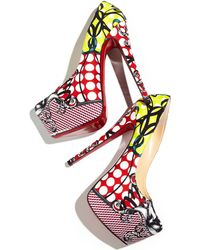 Christian Louboutin Daffodile Multiprint Platform Red Sole Pump - Lyst