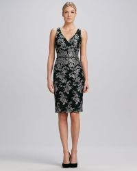 David Meister Floral Vneck Jacquard Cocktail Dress - Lyst