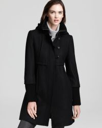DKNY - Babydoll Coat with Knit Collar Cuffs - Lyst