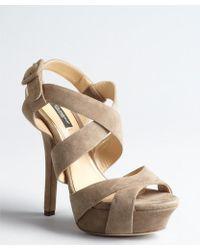 Dolce & Gabbana Putty Suede Strappy Platform Sandals - Lyst