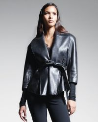 Donna Karan New York Belted Shawlcollar Leather Jacket Black - Lyst