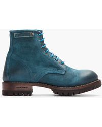 DSquared² - Teal Brushed Leather Hiking Boots - Lyst