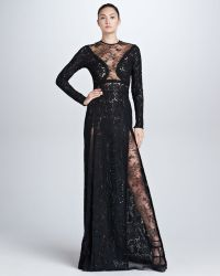 Elie Saab Long Sleeve Lace Gown  - Lyst
