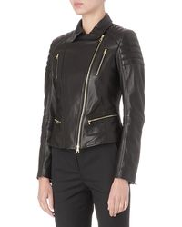 Hugo Boss Leather Biker Jacket - Lyst