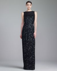 St. John Collection Hand Beaded Bateau Neck Gown - Lyst