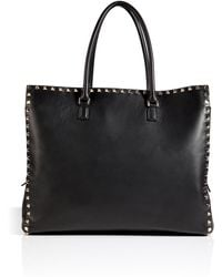 Valentino Leather Rockstud Tote in Black - Lyst