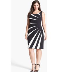 Adrianna Papell Colorblock Side Burst Sheath Dress - Lyst