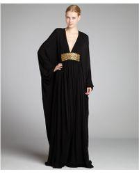 Alexander McQueen Black Crepe Embellished Batwing Sleeve Gown - Lyst