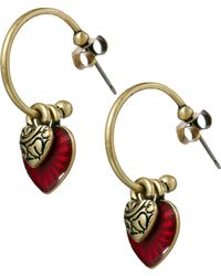 Cath Kidston Red Enamel Heart Hoop Earrings Lyst