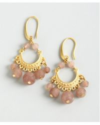 David Aubrey - Gold and Pink Jade Ornate Drop Earrings - Lyst