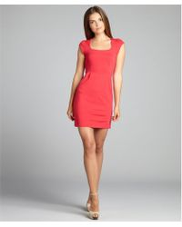 French Connection Hot Pink Jersey Georgia Cap Sleeve Dress - Lyst