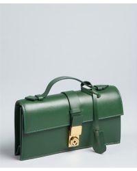Giorgio Armani Fern Green Leather Top Handle Convertible Shoulder Bag - Lyst