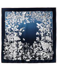 Gucci Botanical Print Silk Scarf blue - Lyst