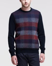 Jil Sander Check Graphic Knit Sweater - Lyst