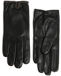 Mango Chain Leather Gloves - Lyst