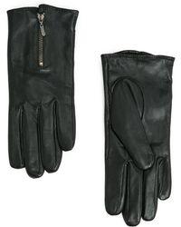 Mango Zip Fastening Leather Gloves - Lyst