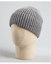 Qi Charcoal and Granite Grey Wool Rib Knit Beanie - Lyst
