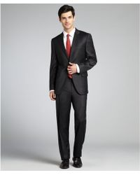 Joseph Abboud Charcoal Stretch Wool Two Button Suit with Flat Front Pants - Lyst