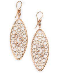 Roberto Coin Bollicine Diamond & 18K Rose Gold Oval Drop Earrings - Lyst