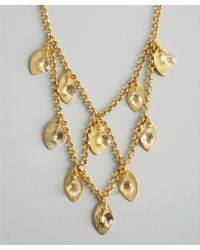 Wendy Mink | Gold and Crystal Tiered Leaf Charm Necklace | Lyst