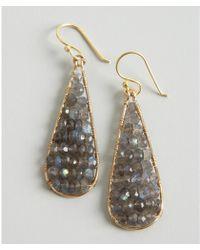Wendy Mink - Gold and Grey Beaded Long Teardrop Earrings - Lyst