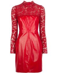 Valentino Lace Dress red - Lyst