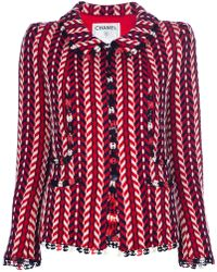 Chanel Woven Tweed Jacket red - Lyst