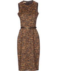 Michael Kors Sleeveless Crew Neckline Brown Dress - Lyst