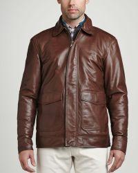 Peter Millar Maverick Leather Bomber Jacket Chocolate - Lyst