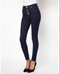 River Island Skinny 5 Button Jean - Lyst