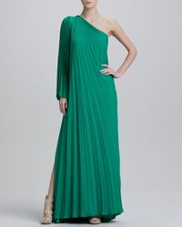 Halston One Shoulder Pleated Gown - Lyst
