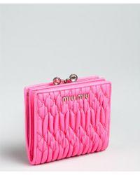 Miu Miu Neon Pink Matelasse Leather Snap Coin Wallet - Lyst