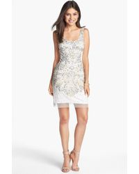 Adrianna Papell Embellished Mesh Tank Dress - Lyst