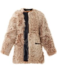 Balenciaga Textured Shearling and Leather Coat - Lyst