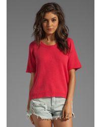 Enza Costa Cashmere Knit Cashmere Short Sleeve Raglan in Red - Lyst