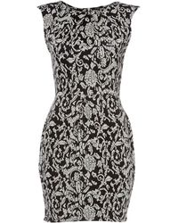 Therapy Floral Jacquard Sleevelsess Dress - Lyst