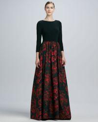 Aidan Mattox Jersey Print Combo Gown - Lyst