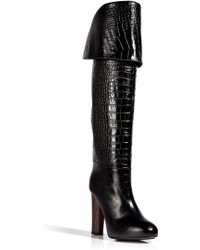 Aperlai - Embossed Leather Coco High Boots in Black - Lyst