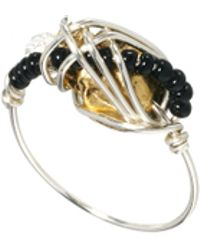 Kat&bee Katbee Sterling Silver Gilberto Brilliant Stardust Bead and Skull Wrap Ring - Lyst
