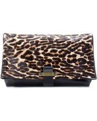 Lanvin Swag Leather Clutch with Leopard print - Lyst