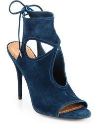 Aquazzura Suede Cutout Sandals - Lyst