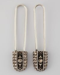 House of Harlow 1960 - Crystal Safety Pin Drop Earrings Stylist Pick - Lyst
