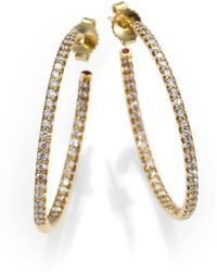 Roberto Coin Diamond & 18K Yellow Gold Hoop Earrings/1.2 - Lyst