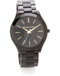 Michael Kors Slim Runway Watch - Black - Lyst